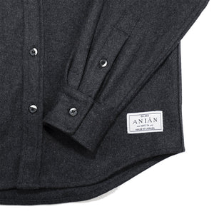 Anian, Made in Canada, Ethically Made, Recycled Wool, Melton, Menswear, Long Sleeve, Charcoal, Grey