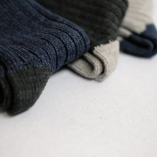Load image into Gallery viewer, Nishiguchi Kutsushita, Cotton, Made in Japan, Ethically Produced, Recycled, Ribbed, Socks, Denim, Blue, Charcoal, Grey