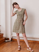 Load image into Gallery viewer, Mata Traders, Cotton, Made in India, Ethically Produced, Fair trade, Women's Co-operative, Dress, Cap Sleeve, Block Print, Clover, Green