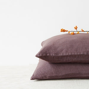 Lithuania Washed Linen Pillow Case King Size by Linen Tales - Plum, Mauve