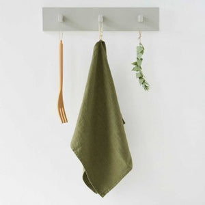 Washed Linen Tea Towel by Linen Tales - Martini Olive