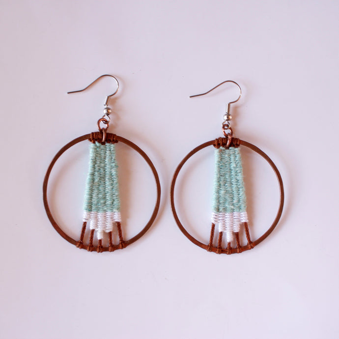 Handmade, Jewelry, Earrings, Cotton, Copper, Circle, Mint