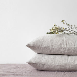 Lithuania Washed Linen Pillow Case King Size by Linen Tales - Beige, Melange