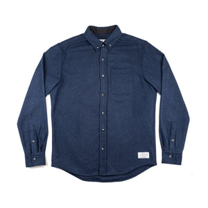 Anian, Made in Canada, Ethically Made, Recycled Wool, Melton, Menswear, Long Sleeve, Navy, Blue