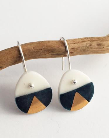 Navy and Gold on Snow White Earrings