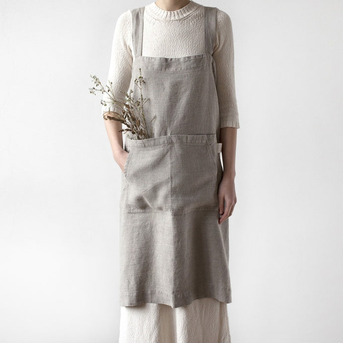 Lithuania Washed Linen Pinafore Apron by Linen Tales - Beige, Natural