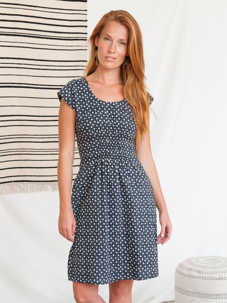 Mata Traders, Cotton, Made in India, Ethically Produced, Fair trade, Women's Co-operative, Dress, Cap Sleeve, Block Print, Black Dots