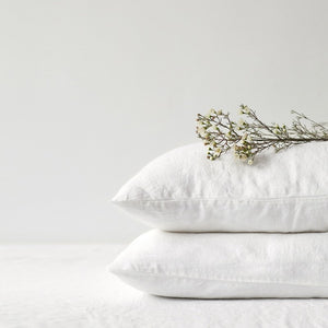 Lithuania Washed Linen Pillow Case Queen Size by Linen Tales white