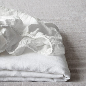Fitted Washed Linen Bed Sheet - King Size White by Linen Tales