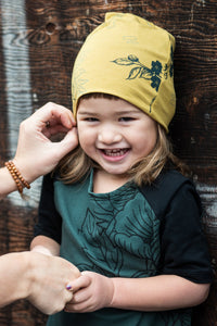Bamboo/Cotton/Lycra Jersey, Silk Screened, Made in Canada, Ethically Produced, Sustainable Loungewear, Kids, Slouchy Hat, One of a Kind