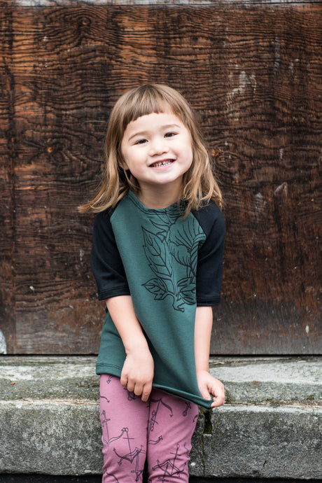 Bamboo/Cotton/Lycra Jersey, Made in Canada, Hand Screen Printed, Ethically Produced, Sustainable Fashion, Loungewear, Kids, Half Sleeve, Top