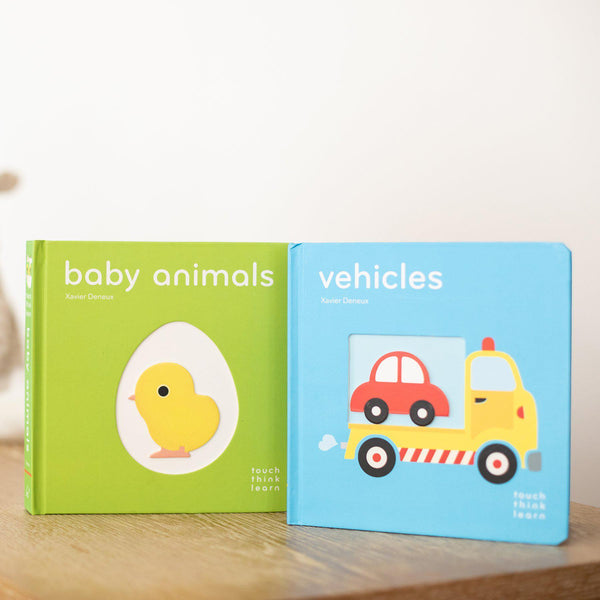 TouchThinkLearn Boardbook Duo: Baby Animals & Vehicles-Hullabaloo Book Co.
