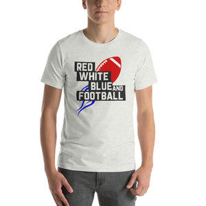 Red White Blue & Football Launch Short-Sleeve Unisex T-Shirt