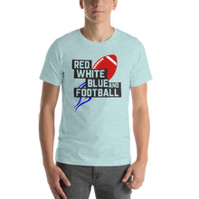 Load image into Gallery viewer, Red White Blue & Football Launch Short-Sleeve Unisex T-Shirt