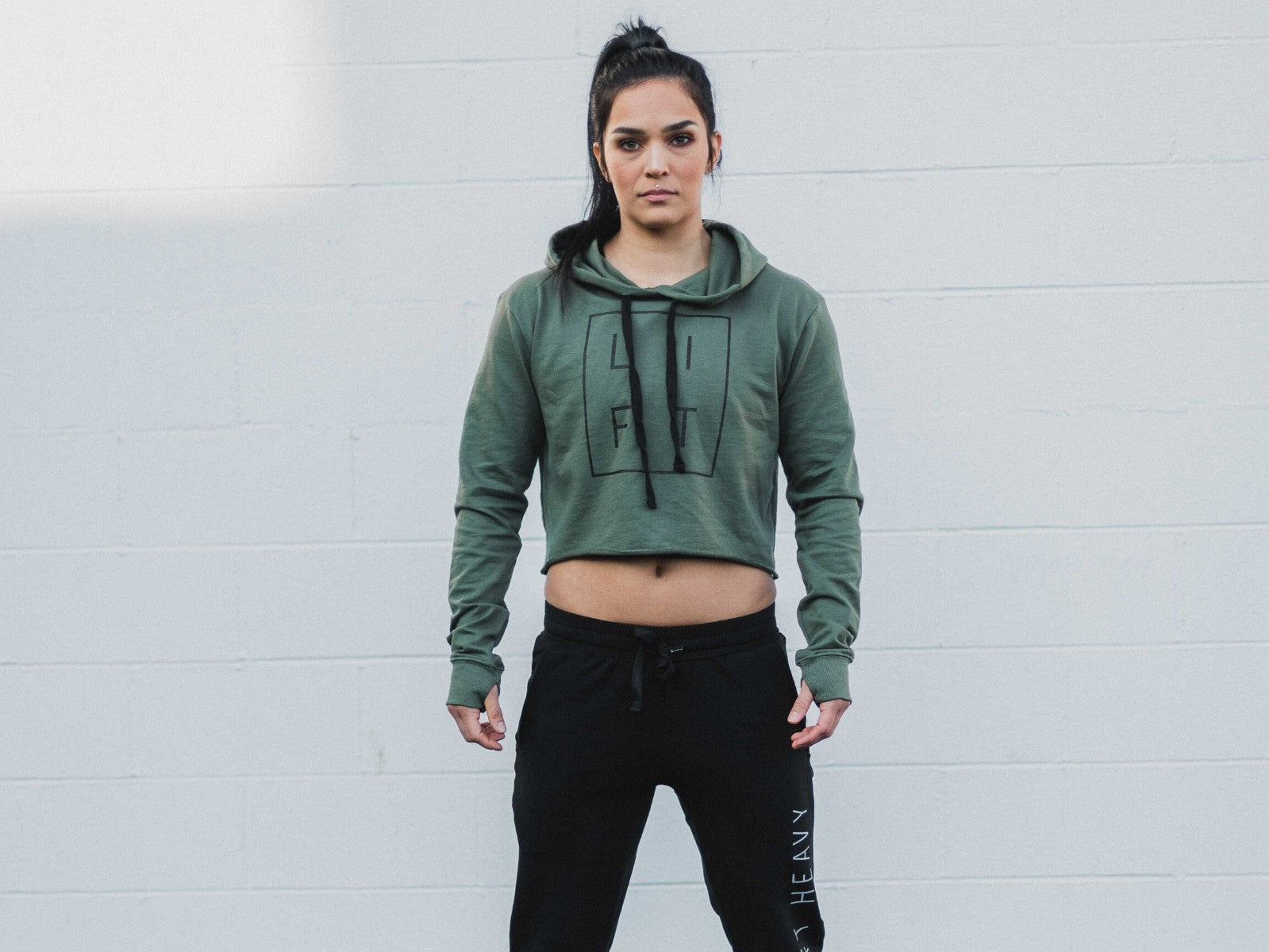 LIFT Army Green Crop Hoodie
