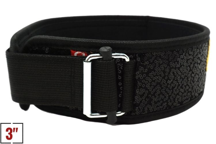 "3"" Petite Black Magic (Sparkle) Straight Weightlifting Belt - 2POOD"