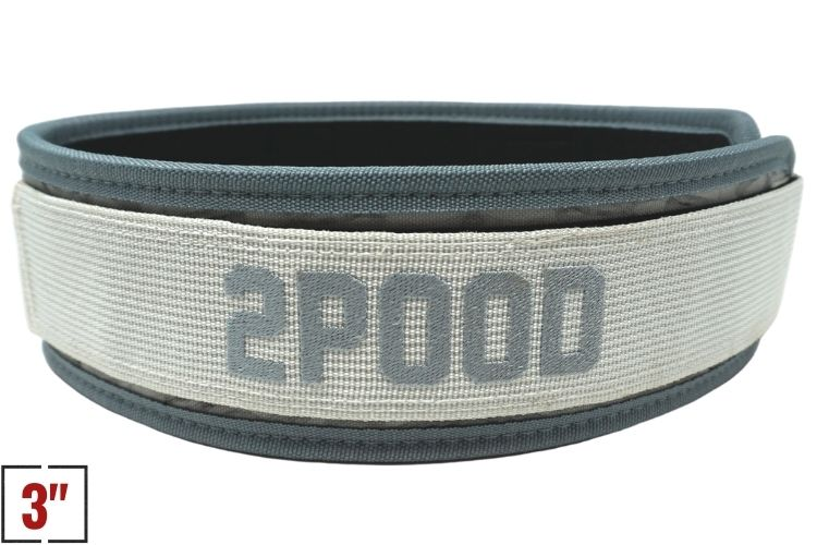 "3"" Petite White Marble Straight Weightlifting Belt - 2POOD"