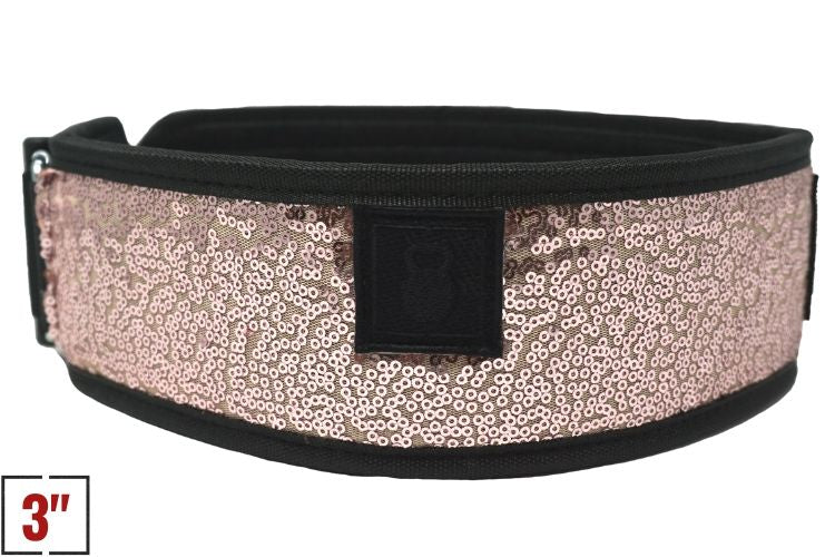 "3"" Petite Classy Bling Rose Gold Straight Weightlifting Belt - 2POOD"