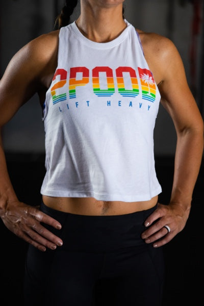 2POOD Rainbow White Muscle Tank