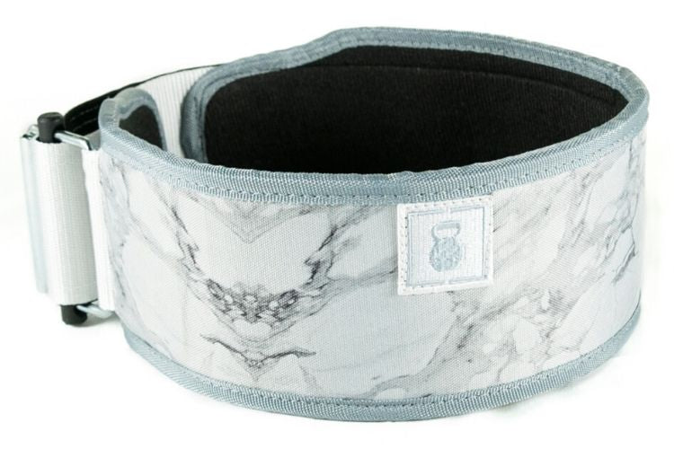 White Marble Straight Weightlifting Belt - 2POOD
