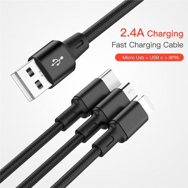 3 in 1 Micro USB Cable For iPhone Samsung Huawei Xiaomi - ELECOOL