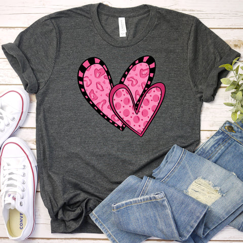 {Double Heart} Soft Crew Neck Tee