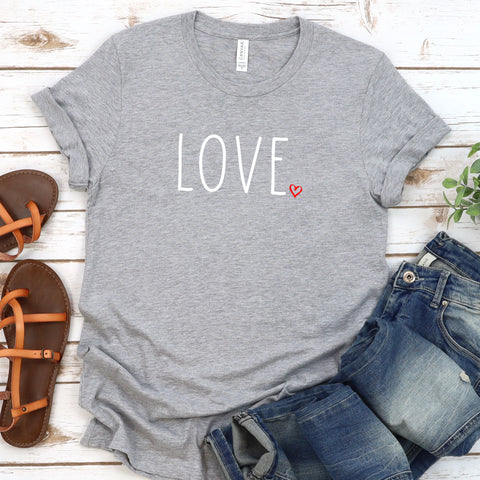 {Love Heart} Soft Crew Neck Tee