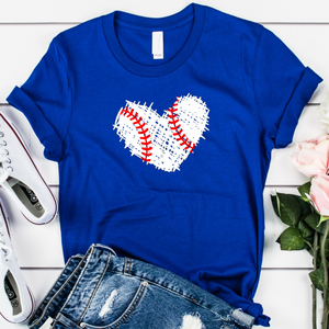 {Baseball Scribble Heart} Soft Crew Neck Tee