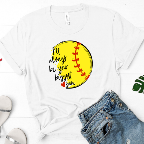 {Biggest Softball Fan} Soft Crew Neck Tee