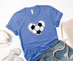 {Scribble Soccer Heart} Soft Crew Neck Tee