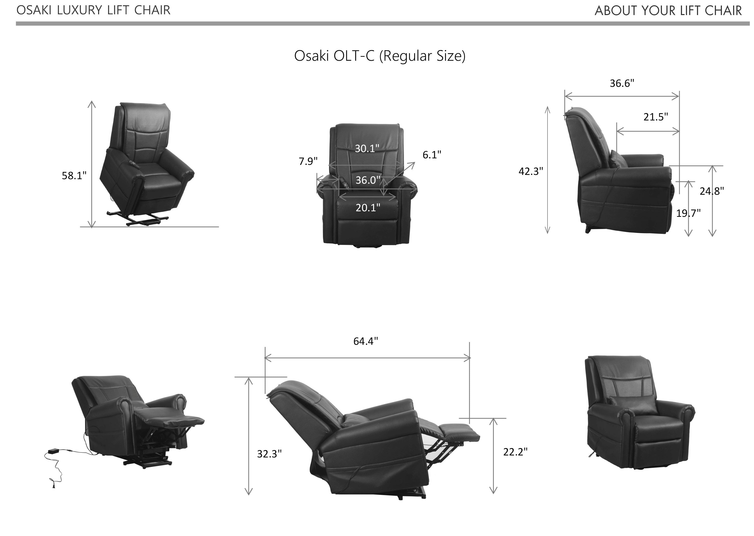 Osaki OLT-C Kneading Massage Lift Chair - DIMENSION