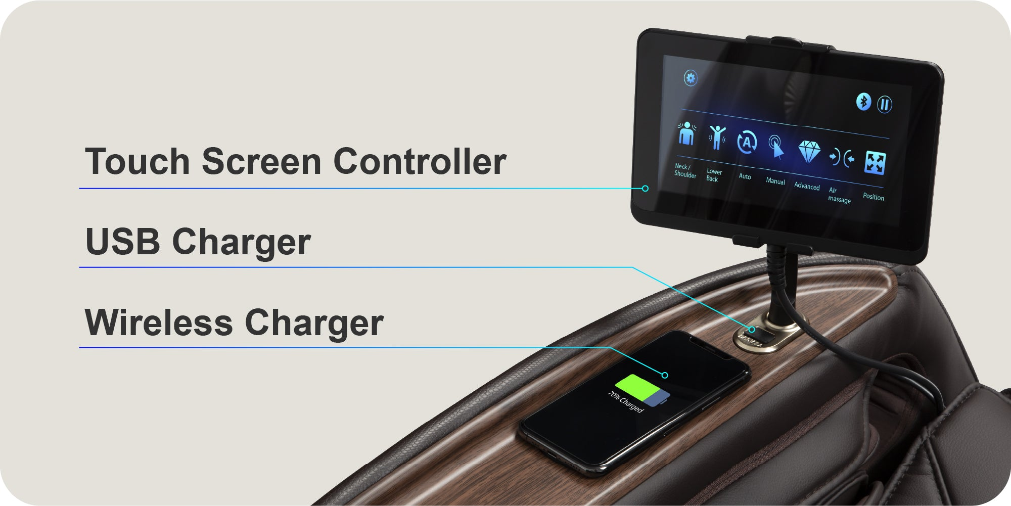 touch screen, usb charger, wireless charger