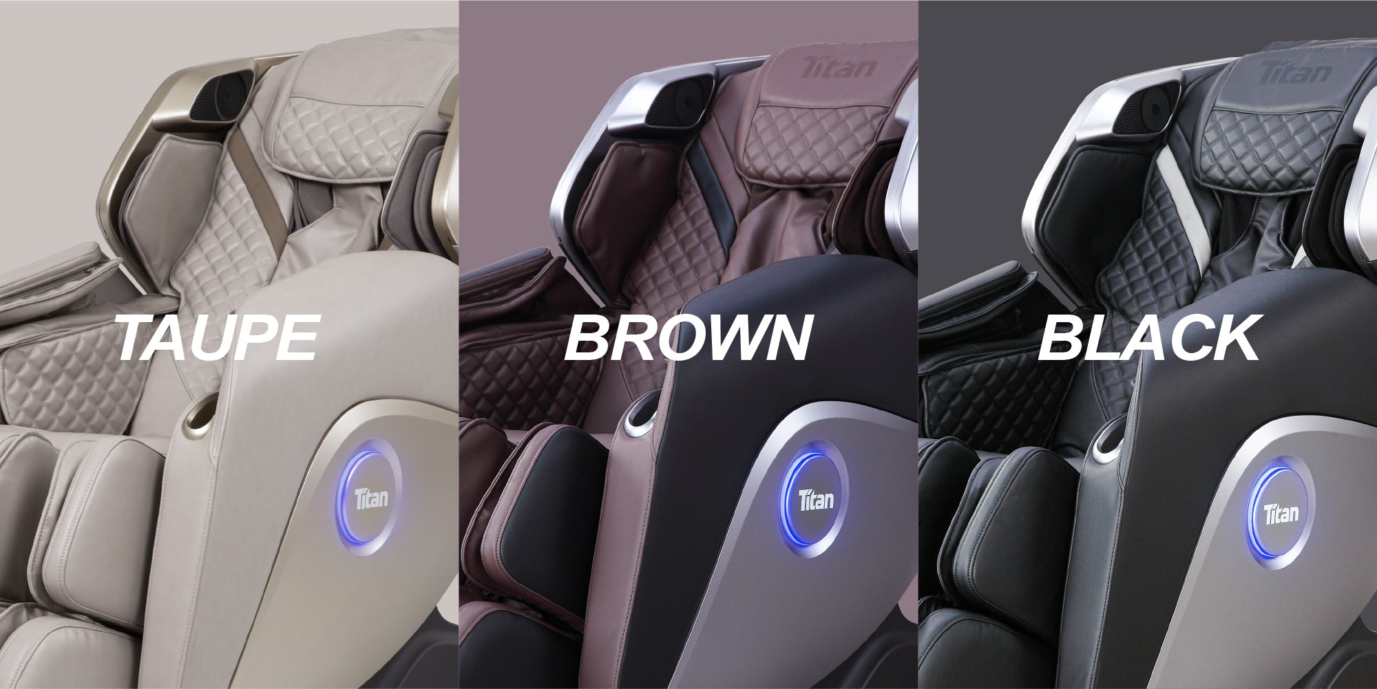 Titan Elite 3D Massage Chair - Taupe, Brown and Black colors