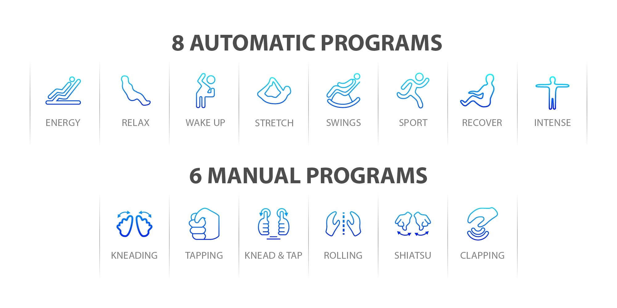 8 automatic programs and 6 manual programs