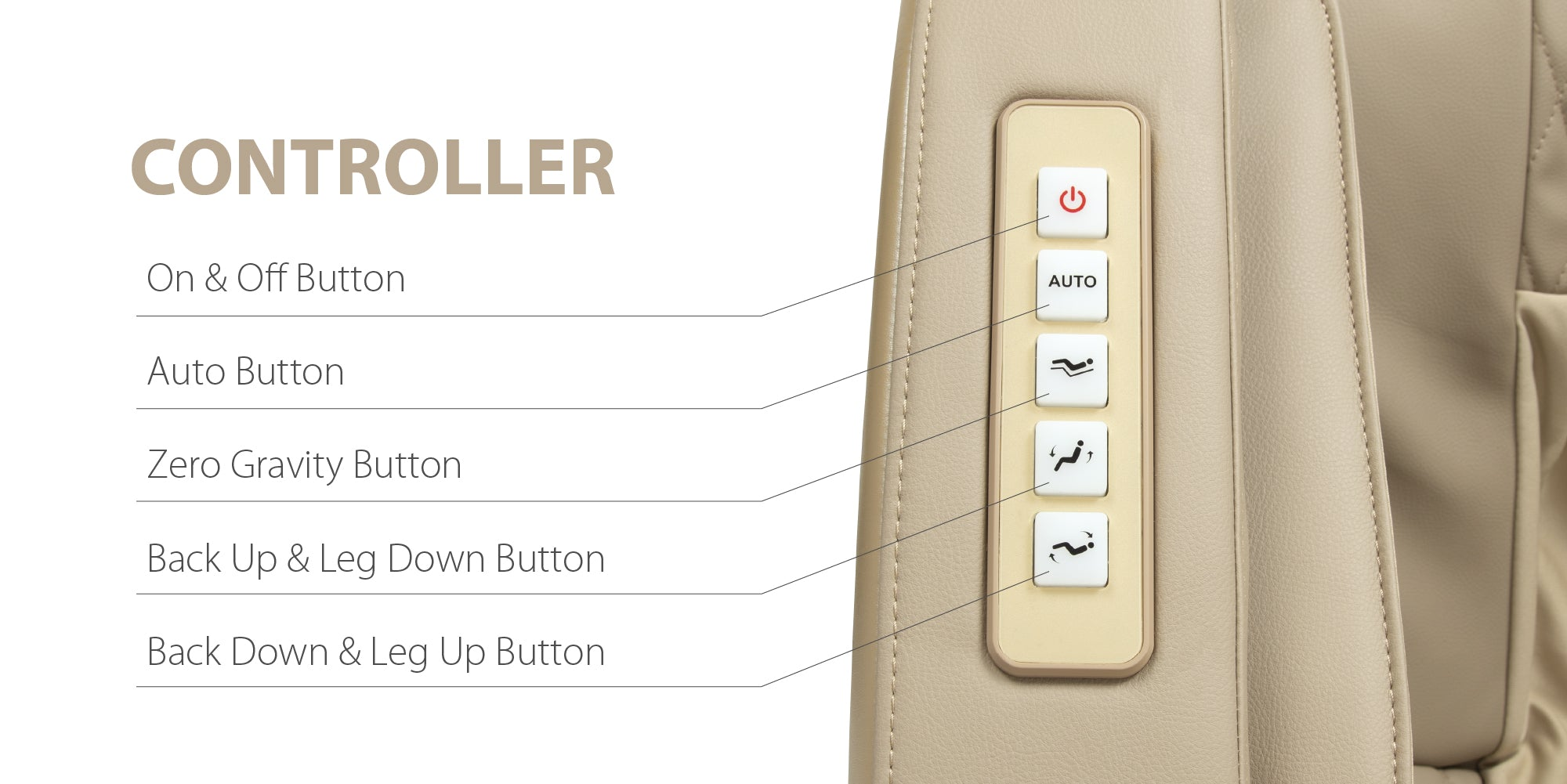 Controller: On&Off button, Auto button, Zero gravity button, Back up & Leg down button, Back down & Leg up button