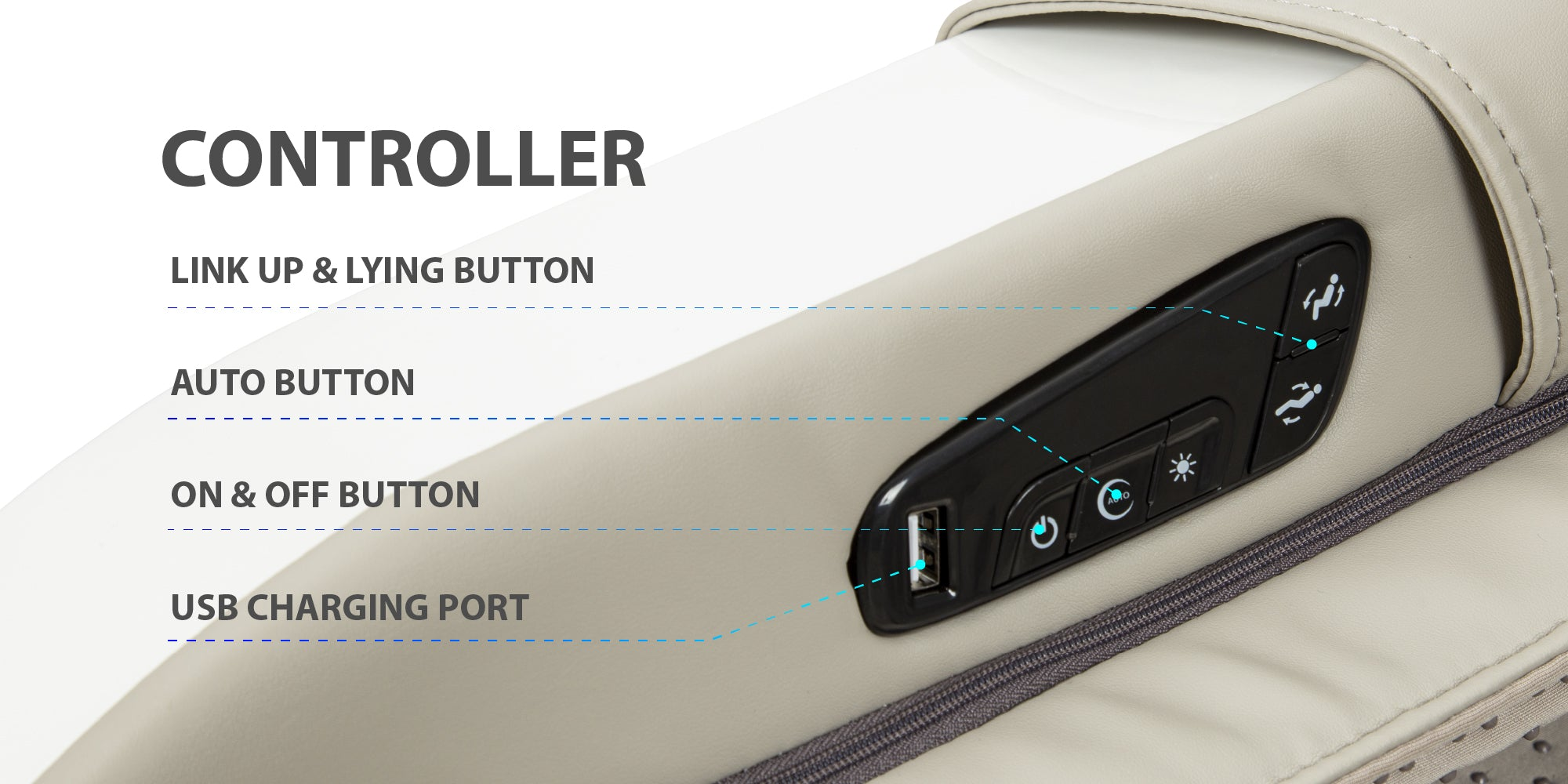 controller - link up & lying button, auto button, on&off button, usb charging port