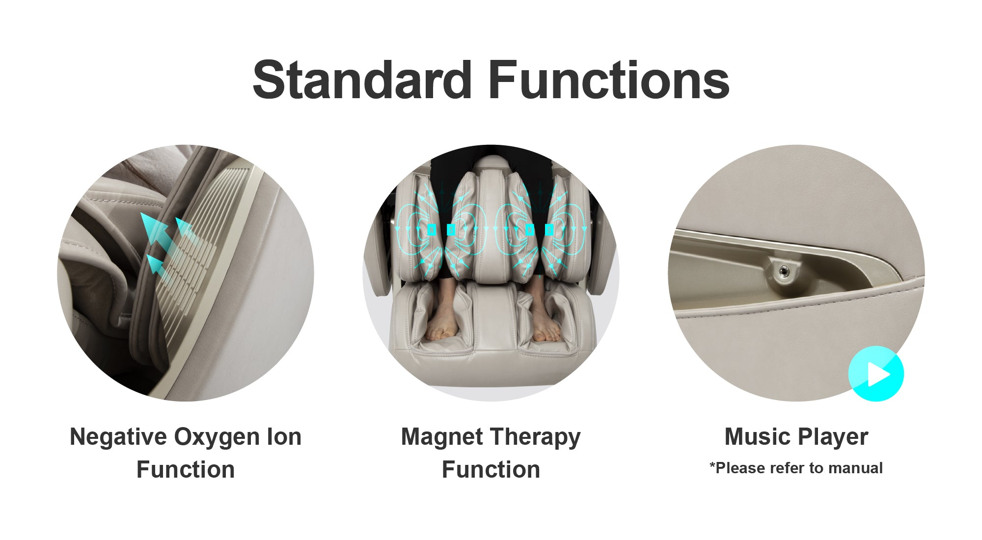 Standard Functions - Negative Oxygen Ion Function, Magnet Therapy Function, Music Player