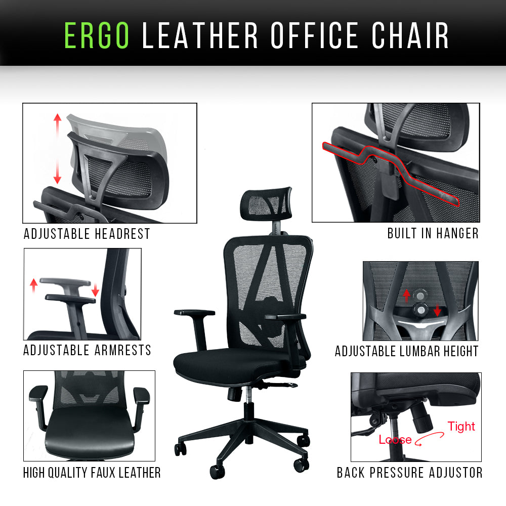 ergo leather office chair