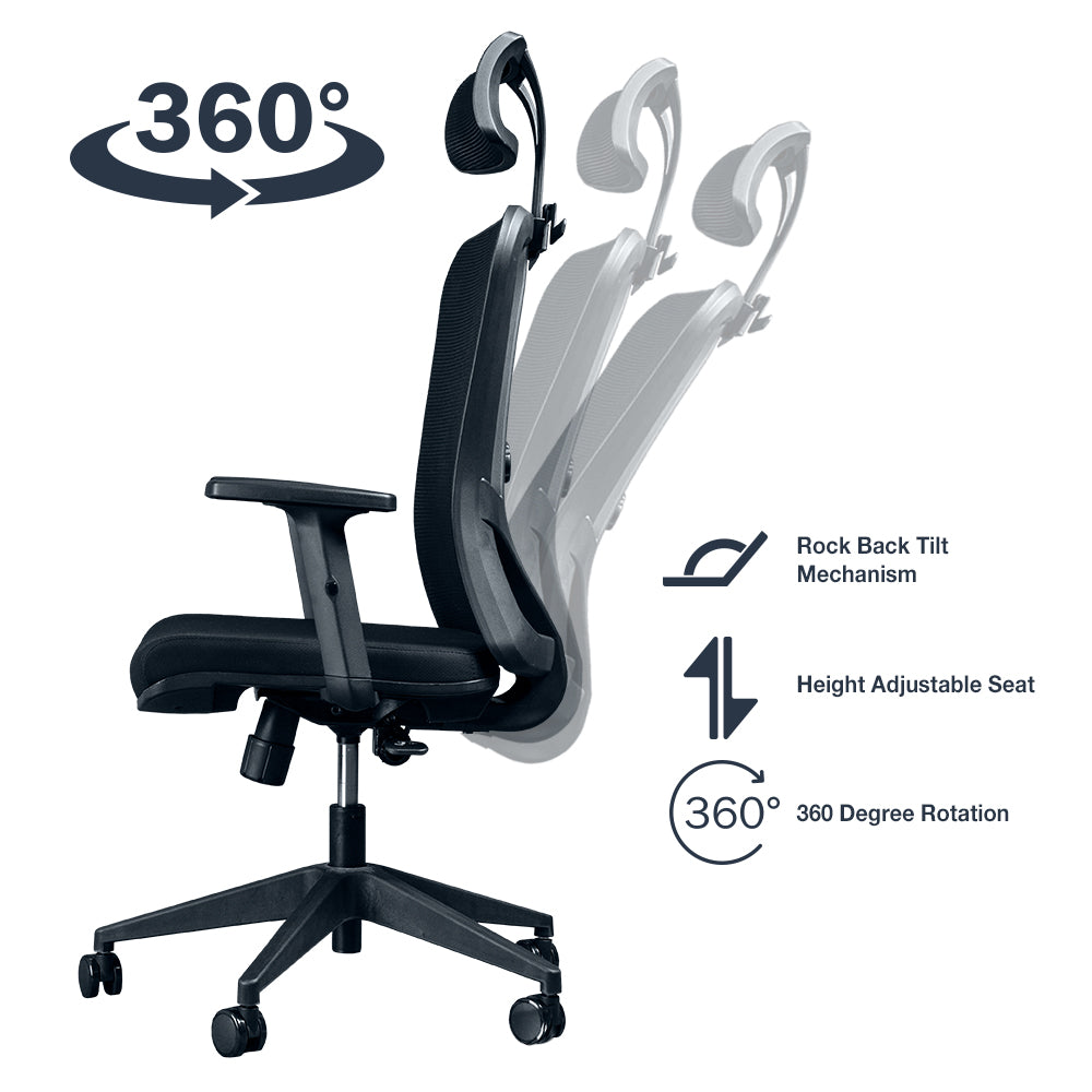 rock back tilt mechanism, height adjustable seat, 360 degree rotation