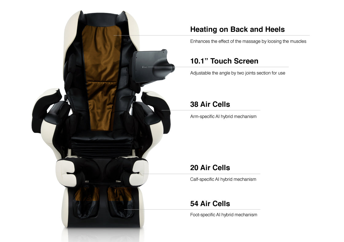 "Heating on back and heels, 10.1"" touch screen, 38 air cells, 20 air cells, 54 air cells"