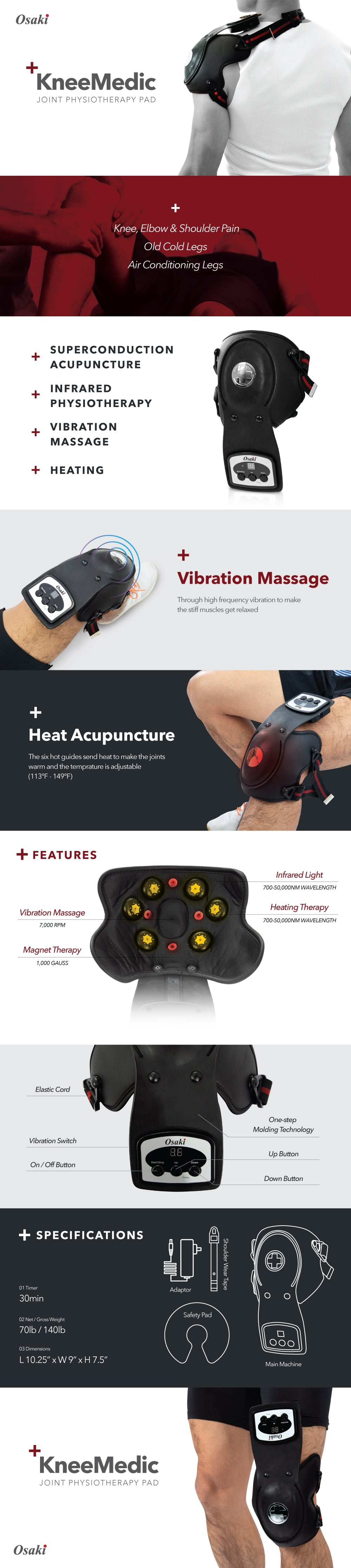 Osaki KneeMedic PAD - Super-conduction Acupuncture, infrared physiotherapy, vibration massage, heating