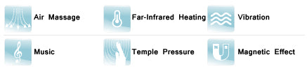 OS-C130 Functions - Air Massage, Far-infrared heating, vibration, music, temple pressure, magnetic effect