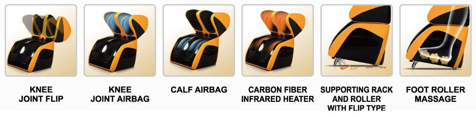 knee joint flip, knee joint airbag, calf airbag, carbon fiber infrared heater, supporting rack and roller with flip type, foot roller massage