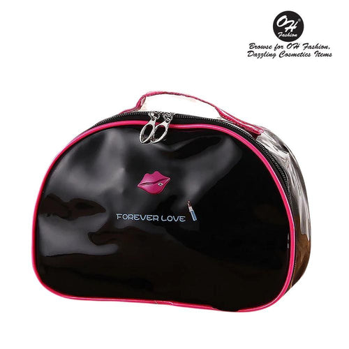 OH Fashion Cosmetic Bag Lipstick Love Captivating in Black (Large) - superfashionwholesaler
