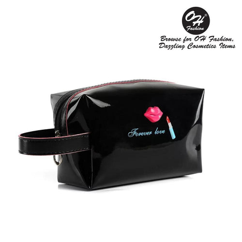 OH Fashion Cosmetic Bag Lipstick Love Captivating in Black (Medium) - superfashionwholesaler