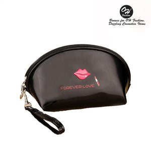 OH Fashion Cosmetic Bag Lipstick Love Captivating in Black (Small) - superfashionwholesaler