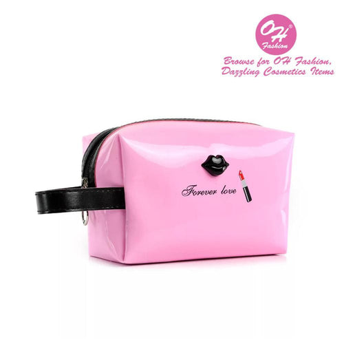 OH Fashion Cosmetic Bag Lipstick Love Cutie in Pink (Medium) - superfashionwholesaler