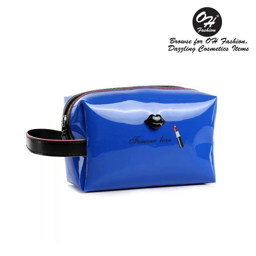 OH Fashion Cosmetic Bag Lipstick Love Extravagant in Blue (Medium) - superfashionwholesaler