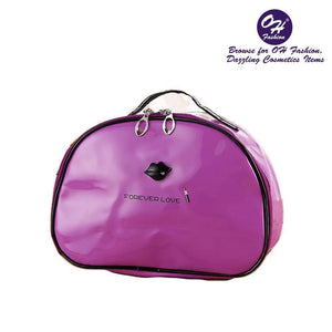 OH Fashion Cosmetic Bag Lipstick Love Famous in Purple (Large) - superfashionwholesaler