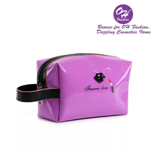 OH Fashion Cosmetic Bag Lipstick Love Famous in Purple (Medium) - superfashionwholesaler